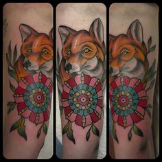 Fancy little fox #tattoos #best_traditional_tattoos #traditionaltattoo #foxtattoo #fancy #pdx
