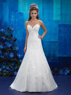 Allure Bridals 9420 is a strapless sweetheart wedding gown with an A-line silhouette and lace embroidery that covers the dress from the neckline to just above the hemline. A beaded neckline and back add sparkling finishing touches to this refined look. Spring 2017 Wedding Dresses, Wedding Dress Sizes, Princess Wedding Dresses, Bridal Wedding Dresses, Designer Wedding Dresses, Lace Wedding, Bridal Lace, Bridal Style, Allure Bridals