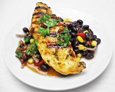 Grilled Spicy Lime Chicken with Black Bean Salad