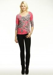 Bouquet Red (10001) ~ Signature 3/4 Sleeve Scoop Shirt Front view