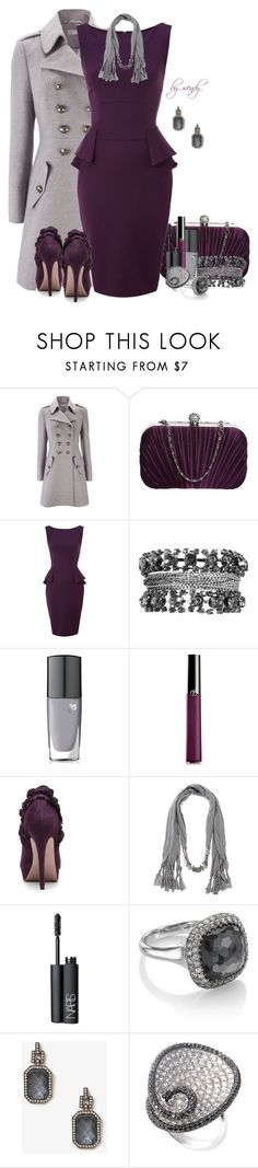"""""""Purple & Grey and Peplum contest"""" by wendyfer ❤ liked on Polyvore featuring Wallis, L.Credi, Closet, Religion Clothing, Lancôme, Giorgio Armani, Cece L'amour, Dorothy Perkins, NARS Cosmetics and Astley Clarke"""