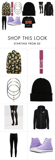 """""""school day outfit"""" by staleysadie on Polyvore featuring Rimmel, NLY Accessories, ASOS, NIKE, Boohoo and Converse"""