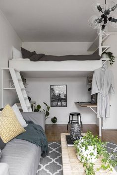 Stylish bedroom design - 34 Delicate Tiny Apartment Design Ideas That Are So Inspiring – Stylish bedroom design Adult Loft Bed, Deco Studio, Studio Apt, Loft Bed Studio Apartment, One Room Apartment, Dorm Room Organization, Organization Ideas, Small Room Design, Tiny Apartments