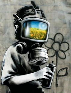 Banksy canvas Gas Mask Boy Street Art Grafitti print – Graffiti World 3d Street Art, Street Art Banksy, Amazing Street Art, Street Artists, Amazing Art, Awesome, Banksy Graffiti, Banksy Canvas, Bansky