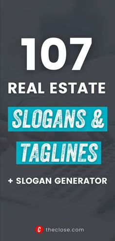 Effective real estate slogans and taglines define your brand and communicate your real estate value proposition in four words or fewer. When it comes to personal or team branding, powerful real estate slogans can help companies stand out in a crowd. Get some inspiration with 107 best real estate slogan Ideas. Review our favorites and test our handy slogan generator to find real estate slogans that work for your brand and market. Real Estate Slogans, Real Estate Values, Slogan Ideas, Value Proposition, Real Estate Marketing, Crowd, Things To Come, Branding