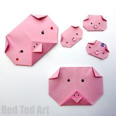 Easy Origami Pig Face How to make an Origami Pig Face for Preschoolers. This is an easy Paper Pig Craft for kids to make – either as part of Farm Animal Studies or for Year of the Pig Activities Pig Crafts, New Year's Crafts, Crafts For Kids To Make, Creative Crafts, Preschool Crafts, Easy Crafts, Arts And Crafts, Paper Crafts, Kids Diy