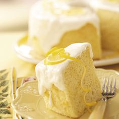 Lemon Chiffon Cake - Light, airy, moist, delicious! And I'm not a big lemon dessert person.