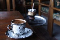 """The Gentle Turkish Pleasures of Life:   The word 'coffee' comes from the Arabic word قهوة qahwah. The drinking of coffee as a hot beverage developed in the Ottoman Empire. The importance of coffee in Turkish culture is evident in the word 'breakfast', kahvaltı, whose literal meaning is """"before coffee"""" (kahve 'coffee' + altı 'under/before') and 'brown', kahverengi, whose literal meaning is, """"the color of coffee""""."""