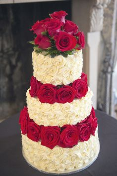 Roses and Rosettes Wedding Cake by Delicately Delicious, sooo pretty