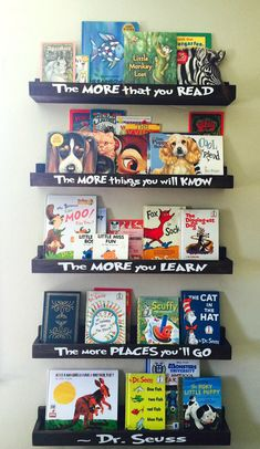 "Dr Seuss Book Shelves  -  Floating Book Ledge - Book Ledges -  30"" Bookshelf - Picture Ledge -  Kid's Furniture - Wall mounted bookshelf"