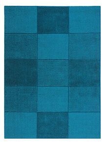 View product Flair Rugs Wool Squares Teal Rug Range