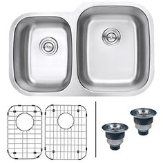 Ruvati RVM4315 Undermount 16 Gauge 32 Kitchen Sink Double Bowl Stainless Steel * Learn more by visiting the image link.