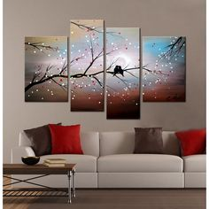 'Love on The Branch' 4-piece Hand-painted Gallery-wrapped Canvas Art Set - Overstock Shopping - Top Rated Canvas
