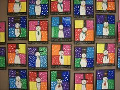 3rd graders reviewed different types of lines; horizontal, vertical, zigzag, diagonal, dotted, dashed, and curved. They used different types of lines to draw the snowmen that you see. Next, 3rd graders reviewed the warm colors (red, orange, yellow) and cool colors (blue, green, purple) while painting their artworks.