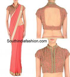 12 Awesome Plain Saree with Designer Blouse Ideas photo