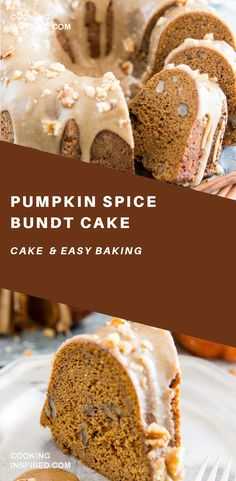 this Pumpkin Spice Bundt Cake is spot on Its moist dense and slightly doughy and has the perfect balance of spiciness and sweetness about thi. Bunt Cakes, Cupcake Cakes, Cupcakes, Healthy Cake Recipes, Dessert Recipes, Dessert Tray, Delicious Desserts, Baking Desserts, Cake Baking