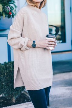 f976d16cf36 Love the blush color of this sweater and the loose fit with the slit on the