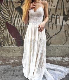 Vintage Lace boho chi wedding dress   Open back   straps   flowing skirt   Eva by FLORA