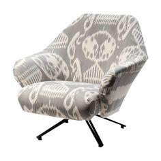 Osvaldo Borsani Dove Remy & Dove Stripe Ikat P32 Lounge Chairs