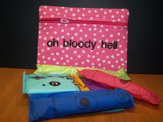 Oh Bloody Hell Tampon & Maxi Pad Holder Pink Dots by WoobiesGifts