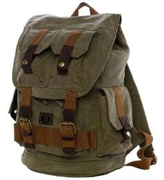 * Premium quality Army Green Canvas Travel Rucksack Backpack with Many Pockets. *Double shoulder straps...