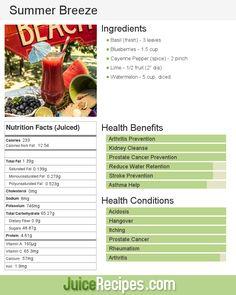 Summer Breeze | Juice Recipes  targets arthritis