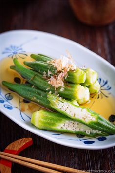 Japanese Okra Salad (Okra Ohitashi) is a simple, light, and flavorful Japanese side dish of blanched okras in a soy sauce-based marinade. Prepare it ahead of time, so you can serve this salad instantly for dinner. #mealprep #okra | Easy Japanese Recipes at JustOneCookbook.com