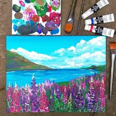 Acrylic Lupine Landscape for Beginners! Easy Canvas Painting, Simple Acrylic Paintings, Diy Canvas Art, Acrylic Art, Abstract Paintings, Oil Paintings, Gouache, Easy Landscape Paintings, Acrylic Landscape Painting