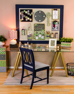 From the effortlessly chic décor and the DIY'd lamp to the pen cups and the stylish organization tricks, this easy-breezy office came together in a papercrafted snap. And the key to its vanity-flair style (besides the glittered one on the wall, of course)? It's all in the soothing blue and green color palette.