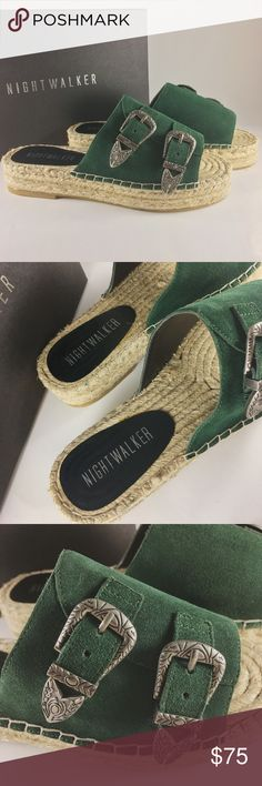 """Nightwalker + Nasty Gal El Mono Espadrilles Be hot to trot on a sunny day with these El Mono Sandal by Nightwalker comes in forest green suede and feature a braided rope platform sole, white contrast stitching, and gunmetal western buckle closure at top. New with Tag and Box! Runs small! Would fit size 7/7.5  *Suede/Synthetic Materials  *Shoe height: 4.5""""/11.4cm  *Platform height: 1.5""""/3.8cm  * Size US 8/ EUR 38 *Imported Nightwalker Shoes Espadrilles"""