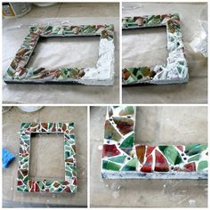 Break your favorite vase or dish? Don't cry, now you can make this DIY Mosaic Picture Frame from your favorite piece. Save the memories! Mirror Mosaic, Mosaic Diy, Mosaic Crafts, Mosaic Projects, Diy Craft Projects, Diy Crafts For Kids, Decor Crafts, Mosaic Ideas, Frame Crafts