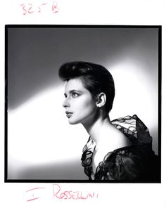 Isabella Rossellini posing for Lancôme's Black Lace campaign in 1984.