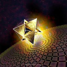 Sacred Geometry Art — Cosmic Cube with Merkabah by Anna Vincitorio -. Sacred Geometry Art, Sacred Art, Geometry Tattoo, Platonic Solid, Divine Light, New Shape, Flower Of Life, Fractal Art, Cosmic