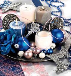 Modèle déco de table de Noël bleu et argent