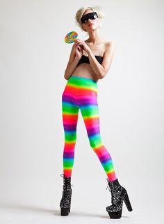 Neon Rainbow Candy Kid Super High Rise Leggings by AliciaZenobia, $60.00