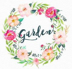 Watercolour Floral Clip Art-Gentle garden/ by GraphicSafari