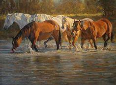 The River Trail by Phil Beck Oil ~ 30 x 40 Cowboy Horse, Cowboy Art, Arte Equina, Horse Sketch, Mediums Of Art, Horse Illustration, Teen Art, Horse Artwork, Farm Art