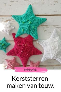 Kerstster maken van touw. Een leuke simpele knutsel. Christmas Decorations, Holiday Decor, Holiday Ideas, Christmas Stockings, Crafts For Kids, Xmas, Diy, Circuit, Winter