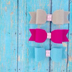 Felt Hair Bows with Pink Leather Center by sherbetwithsprinkles