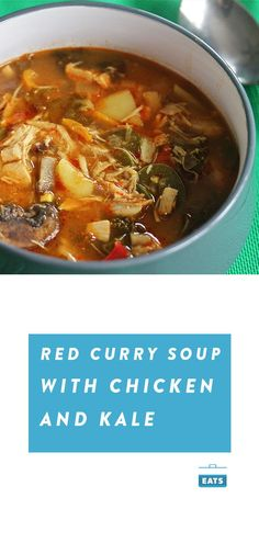 Slow Cooker Slow Cooker Red Curry Soup With Chicken and Kale Chicken And Kale Recipes, Kale Soup Recipes, Mushroom Recipes, Turkey Recipes, Thai Red Curry Soup, Red Curry Chicken, Slow Cooker Recipes, Crockpot Recipes, Slow Cooker Curry