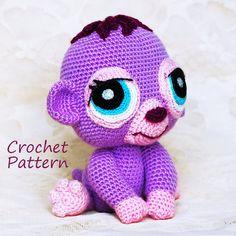 Crochet Pattern. Littlest Pet Shop Purple Plum Monkey