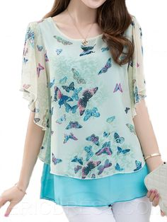 Ericdress Butterfly Printing Chiffon Blouse – My Friends Page Stylish Dresses, Fashion Dresses, Fashion Clothes, Butterfly Print Dress, Red Butterfly, Sewing Blouses, Plus Size Kleidung, Tunic Pattern, Look Fashion