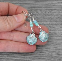 Excited to share this item from my shop: Patina Seashell Earrings - Beach Theme Earrings - Tropical Earrings - Beach Wedding Seashell Jewelry, Beach Jewelry, Feet Jewelry, Glass Jewelry, Silver Jewelry, Silver Rings, Bar Stud Earrings, Beaded Earrings, Style Surfer
