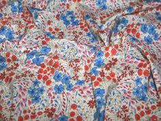 Floral Print Cotton Lawn Dress Fabric Red & Blue | Fabric | Dress Fabrics | Minerva Crafts
