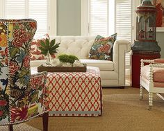 Eclectic style decorating for the living room. Floral and sophisticated. It makes the place feel bright and young.