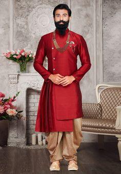 Maroon Asymmetric Sherwani With Dhoti Sherwani For Men Wedding, Sherwani Groom, Wedding Dresses Men Indian, Mens Sherwani, Wedding Dress Men, Dhoti Mens, Red Wedding, Wedding Wear, Mens Ethnic Wear