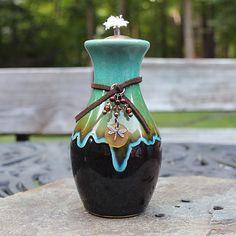 Multi-colored Ceramic Outdoor Oil Lamp Tiki by ShopPrettyPatina