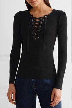 Maje - Lace-up Ribbed Stretch-knit Sweater - Black - 1