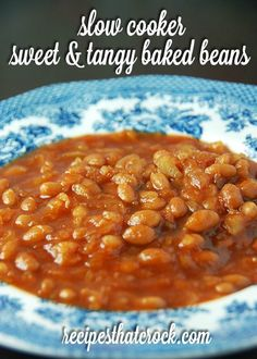 Slow Cooker Sweet and Tangy Baked Beans #CrockPot