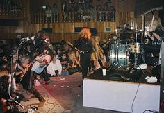 Slash, Axl Rose, Duff McKagan, Izzy Stradli and Steven Adler of the rock band 'Guns n' Roses' perform their first sold out show at The Troubadour on November 22, 1985 in Los Angeles, California.